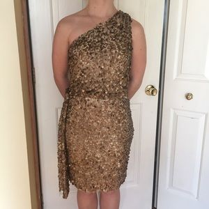 Totally Gold Sequined One Shoulder Dress